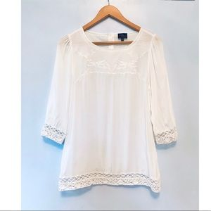 Market & Spruce White Blouse Top